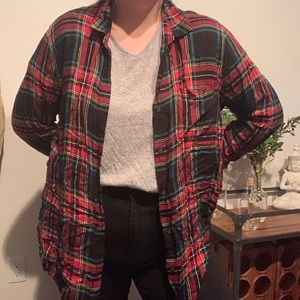 Traditional Red Plaid Print Top